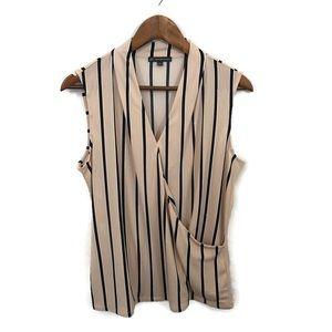 Adrianna Papell sleeveless surplice blouse NWOT Lg